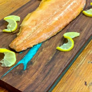 Hot smoked plain trout fillets 400g to 600g